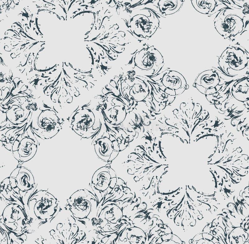 Podławego abstrakta adamaszka wiktoriański wzoru bezszwowy wektorowy wallpapper ilustracja wektor