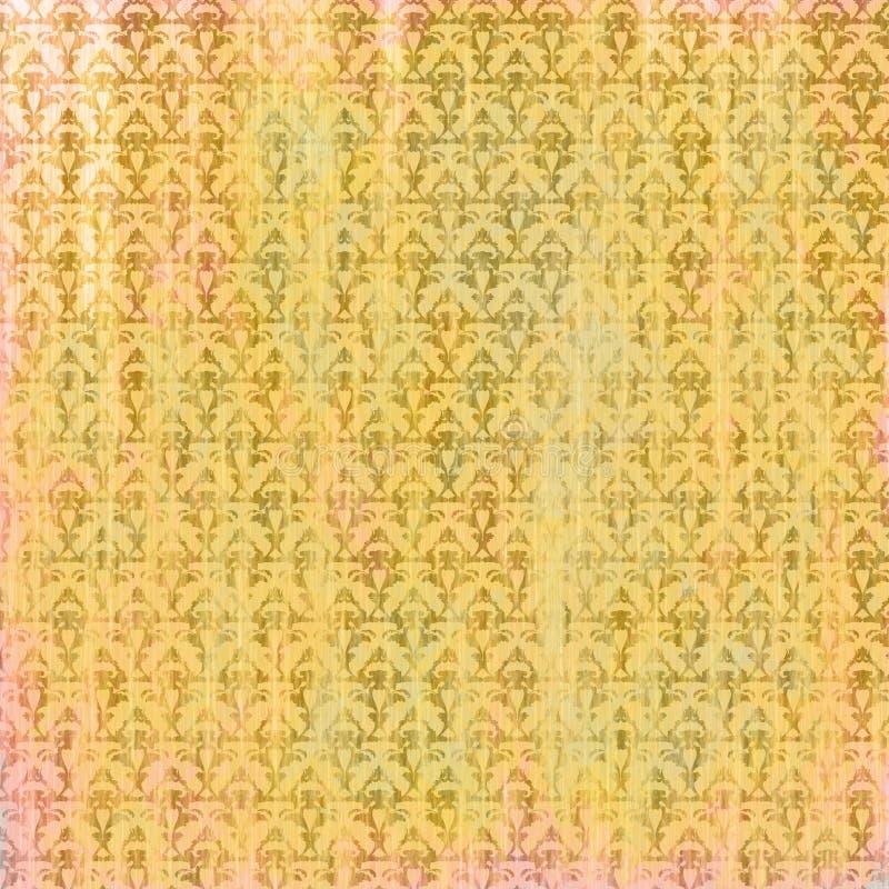 Podławy starzejący się złoty różowy pergaminowy tło z barokowymi wzorami ilustracja wektor
