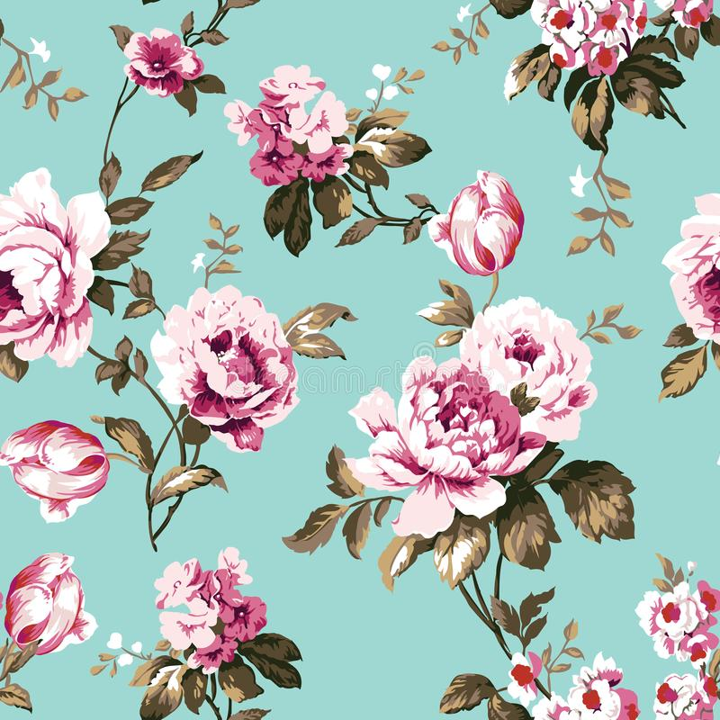 Podławych modnych rocznik róż bezszwowy wzór royalty ilustracja