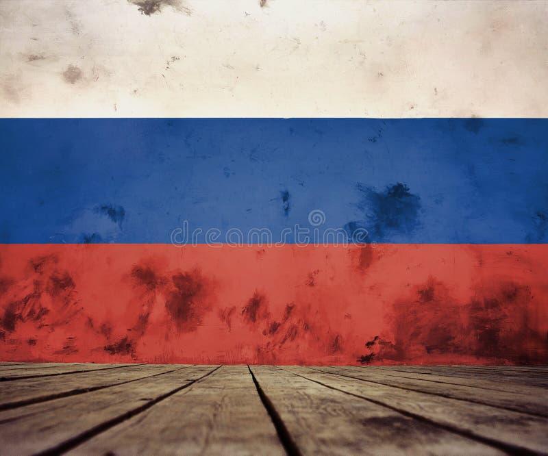 Podłoga deski i gipsująca ściana z rosjanin flaga royalty ilustracja