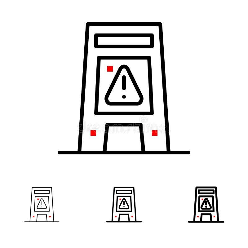 Podłoga, sygnał, Sygnalizujący, Ostrzegać, Mokrego czerni linii ikony set, Śmiały i cienki ilustracja wektor