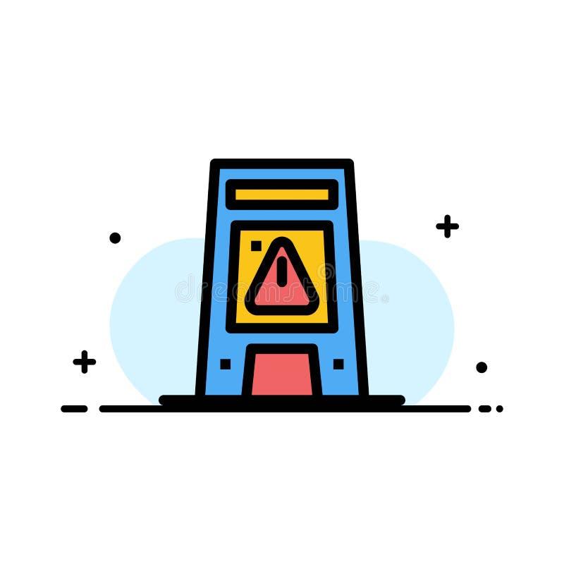 Podłoga, sygnał, Sygnalizujący, Ostrzegający, Mokra Biznesowa linia Wypełniający mieszkanie ikony sztandaru Wektorowy szablon ilustracji