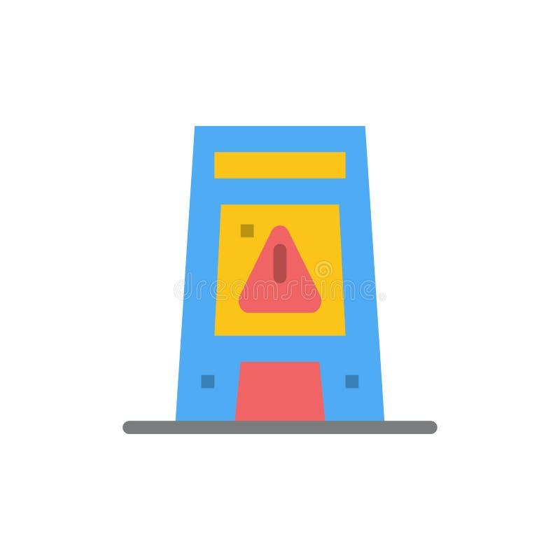 Podłoga, sygnał, Sygnalizujący, Ostrzegający, Mokra Płaska kolor ikona Wektorowy ikona sztandaru szablon royalty ilustracja