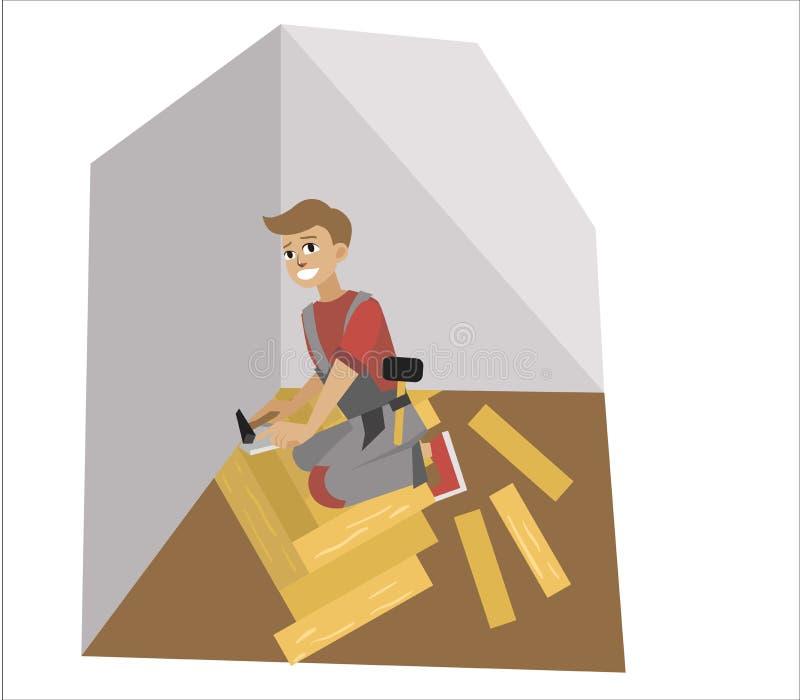 Podłogowa instalacja biegłym mężczyzna installer plakatem ilustracji