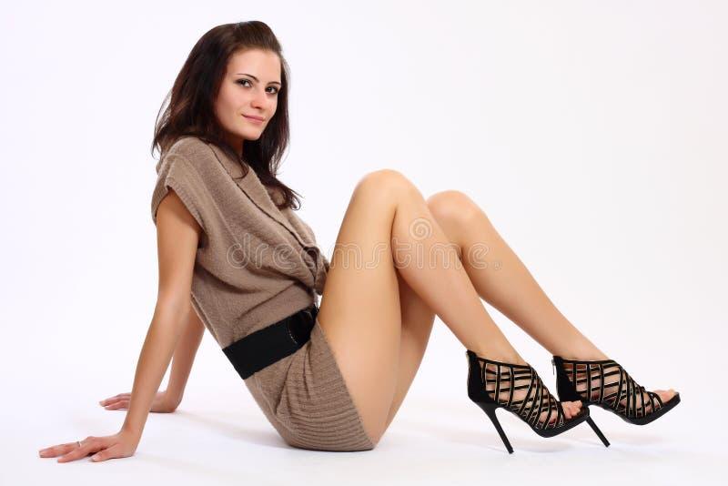 podłogowa seksowna siedząca kobieta fotografia royalty free