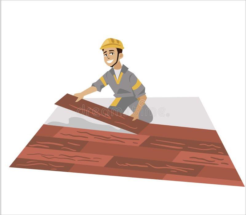 Podłogowego installer męski działanie z panel plakatowymi royalty ilustracja
