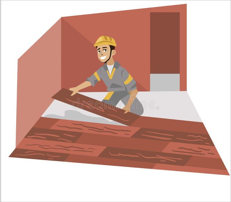 Podłogowego installer męski działanie z panel plakatowymi ilustracja wektor