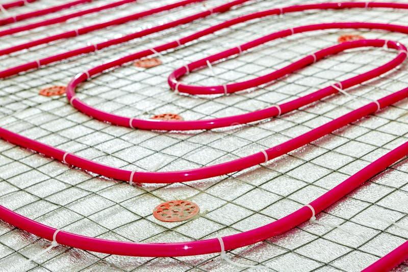 Podłogowego ogrzewania drymba Instalacja inżynieria systemy zdjęcia royalty free