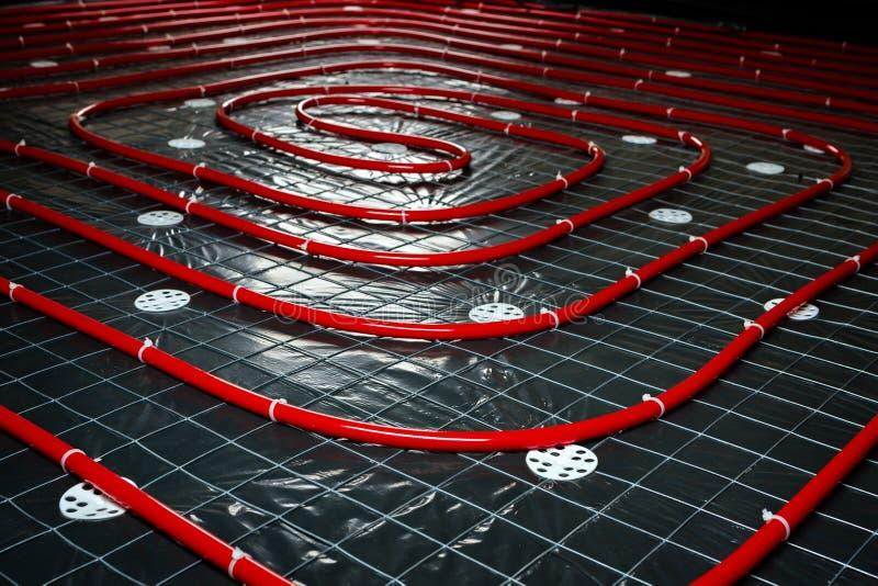 Podłogowego ogrzewania drymba Instalacja inżynieria systemy w bui obrazy royalty free
