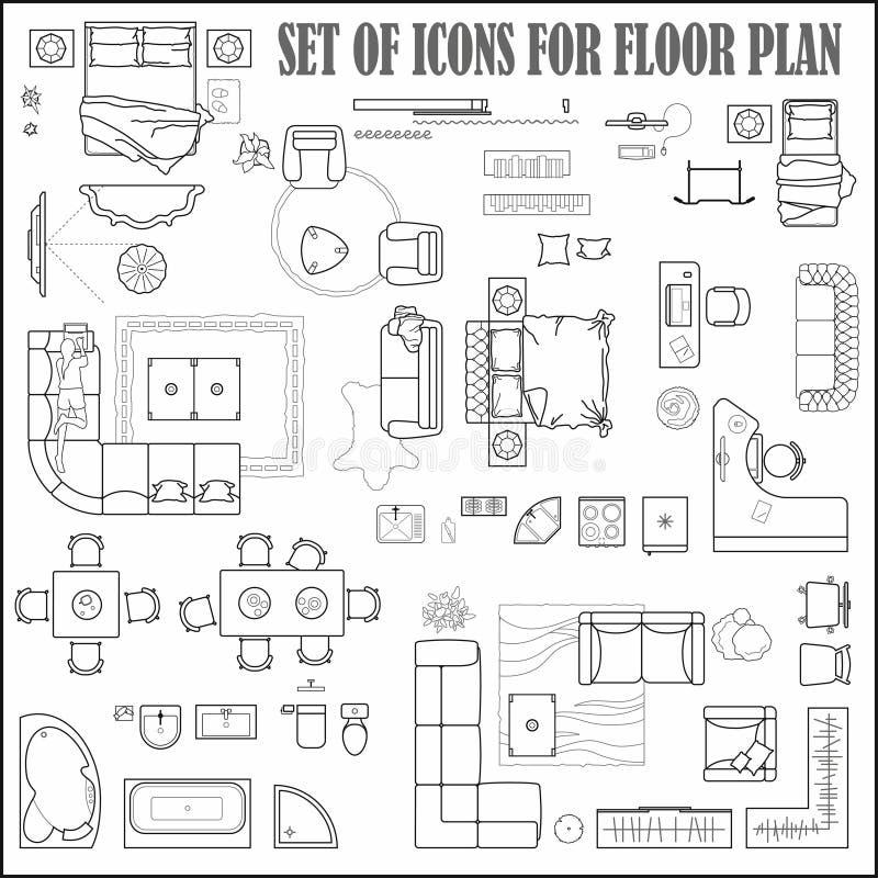Podłogowego planu ikony ustawiać dla projekta wnętrza i architektonicznego projekta przeglądają z góry Meble cienka kreskowa ikon royalty ilustracja