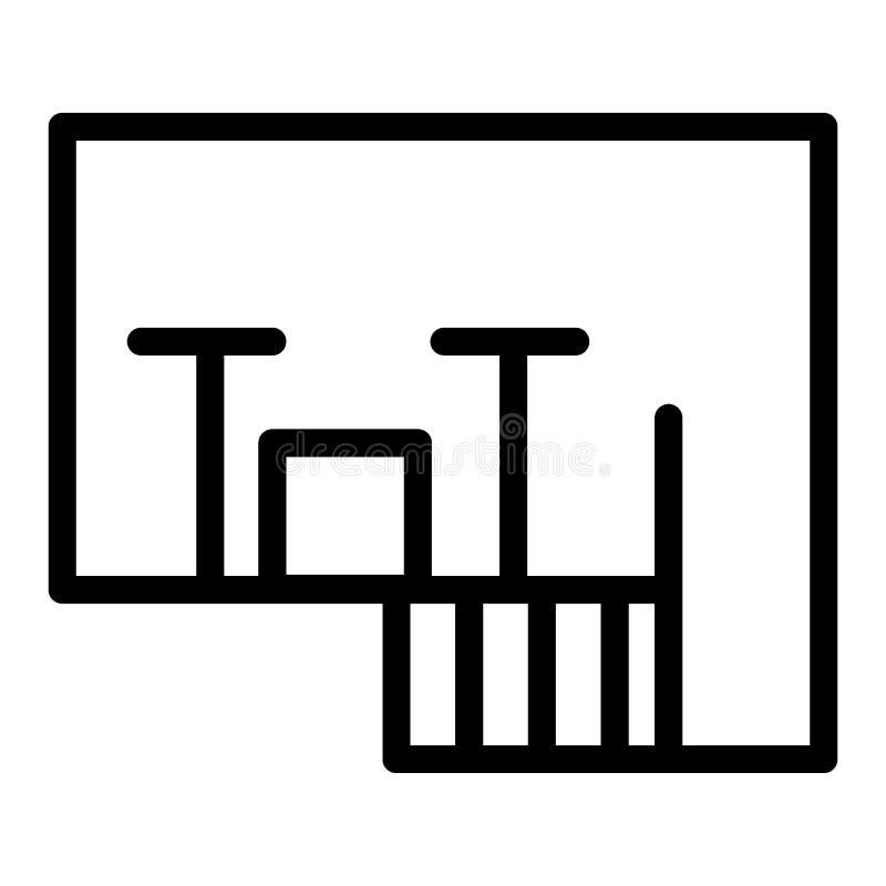 Podłogowego planu linii ikona Mieszkanie planu wektorowa ilustracja odizolowywająca na bielu Architektura planu konturu stylu pro royalty ilustracja