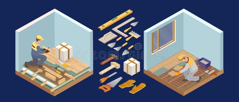 Podłogowy installer Domowy Remontowy Isometric szablon Wektorowa mieszkania 3d ilustracja ilustracja wektor