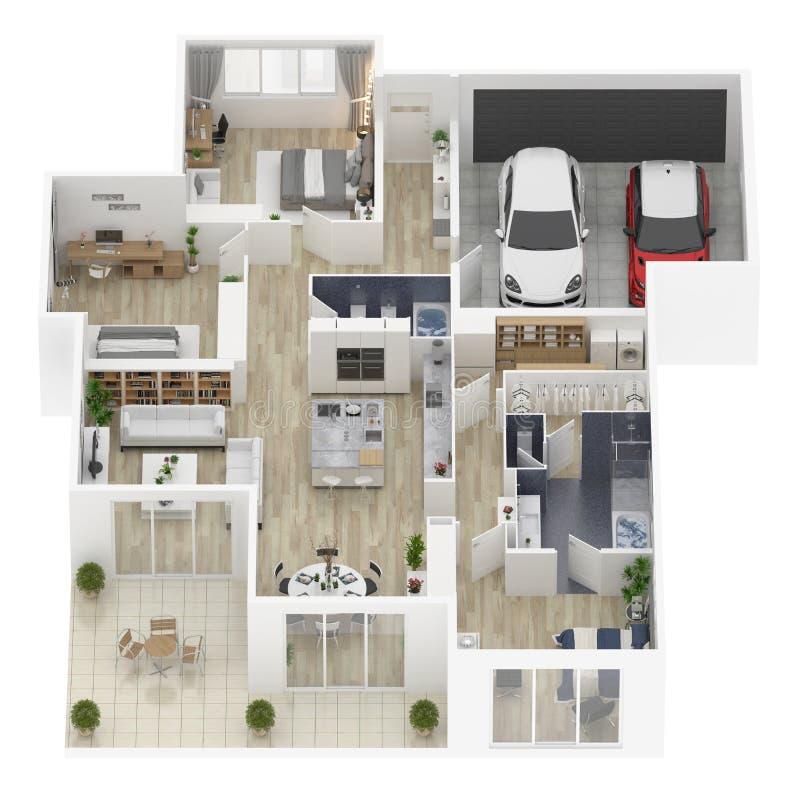 Podłogowy plan domowa odgórnego widoku 3D ilustracja royalty ilustracja