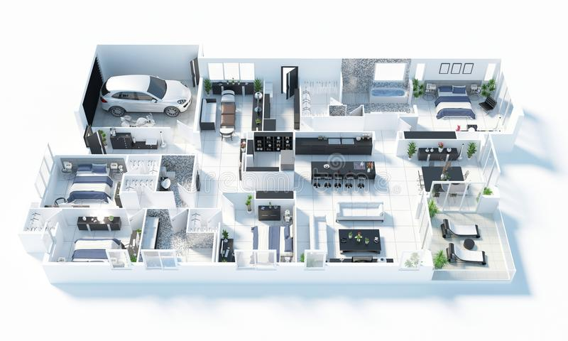Podłogowy plan domowa odgórnego widoku 3D ilustracja Otwiera pojęcia mieszkania żywego układ ilustracji