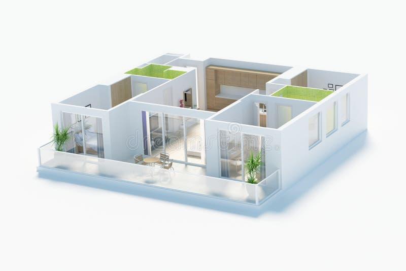 Podłogowy plan domowa odgórnego widoku 3D ilustracja Otwiera pojęcia mieszkania żywego układ royalty ilustracja