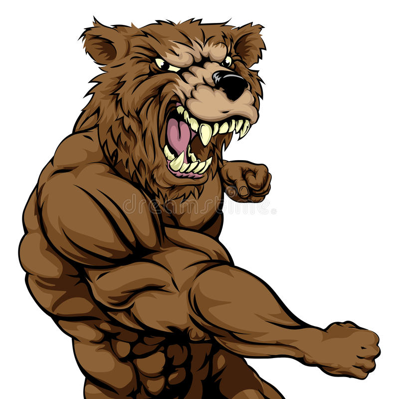 Podły niedźwiedź bawi się maskotki uderzać pięścią royalty ilustracja