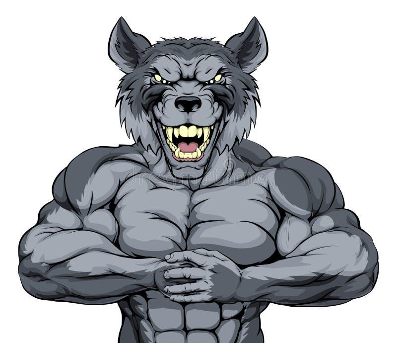 Podły wilk bawi się maskotki ilustracji
