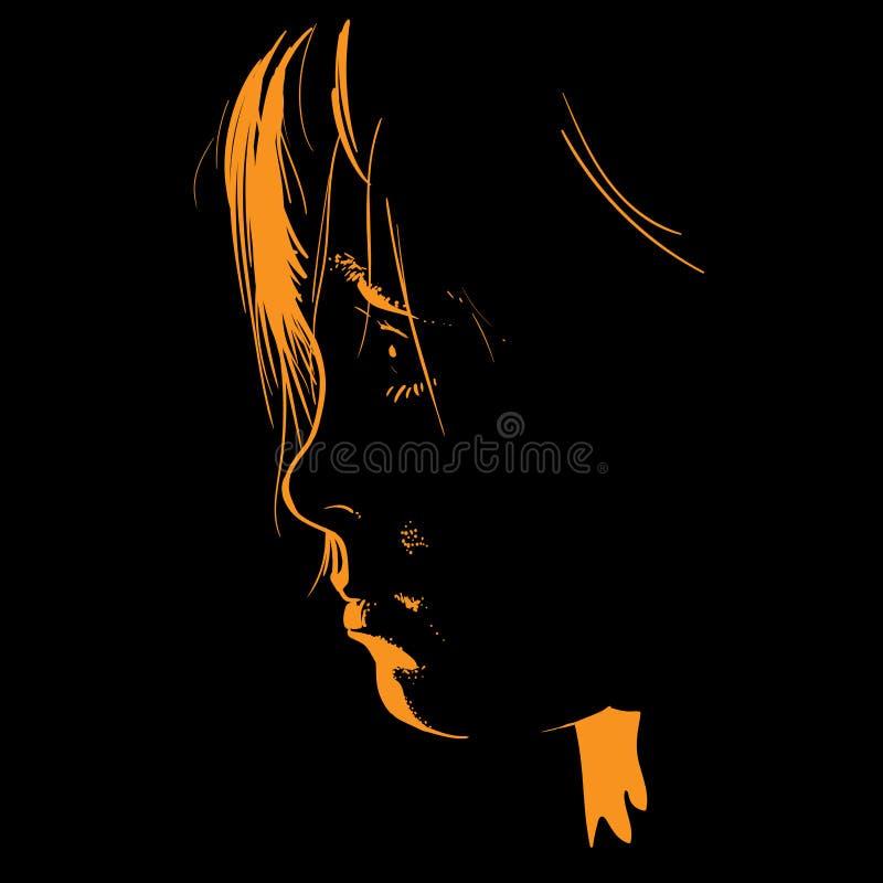 Podświetlenie podświetleniem podświetleniem dla dzieci Kontur twarzy Sylwetka dziecka Wektor royalty ilustracja