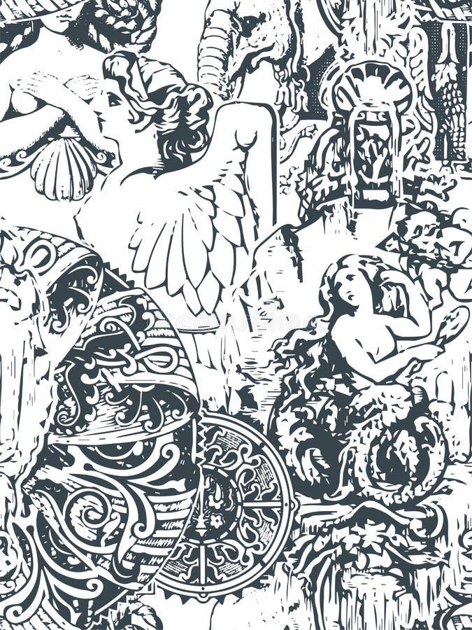 Pod?awego abstrakta adamaszka wiktoria?ski wzoru bezszwowy wektorowy wallpapper ilustracji