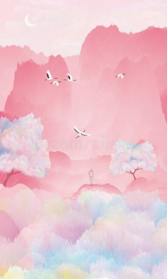 Pod brzoskwini drzewem żuraw lata dziewczyna czeka jej ukochanej osoby ilustrować pakować royalty ilustracja