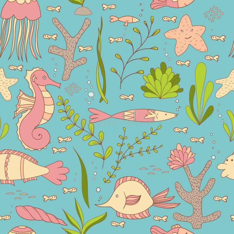 Pod Dennym Bezszwowym wzorem z ryba, Seahorses, skorupami, Dennymi gwiazdami, gałęzatkami i koralami, ilustracja wektor
