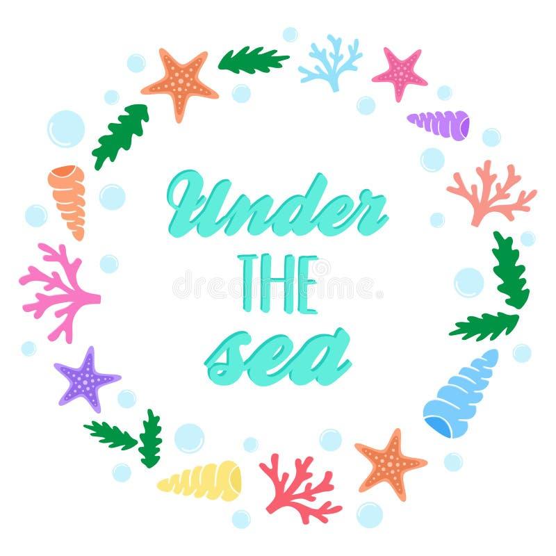 Pod dennym morskim wiankiem ilustracji