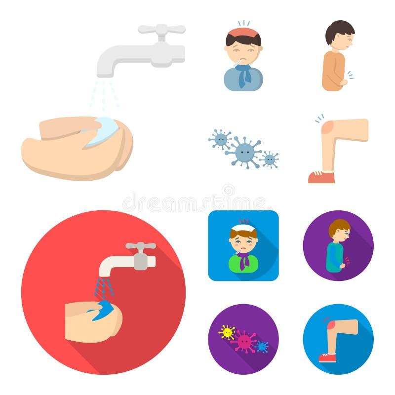 Pod klepnięciem z wodnym obmyciem ich ręki pacjent z gorącej wody butelką z lodem na jego głowie w szaliku, mężczyzna ilustracji