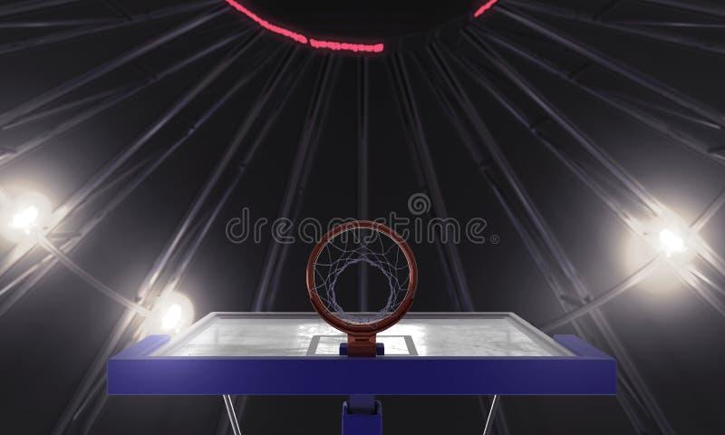 Pod koszykówka obręczem 3d odpłacają się ilustracja wektor