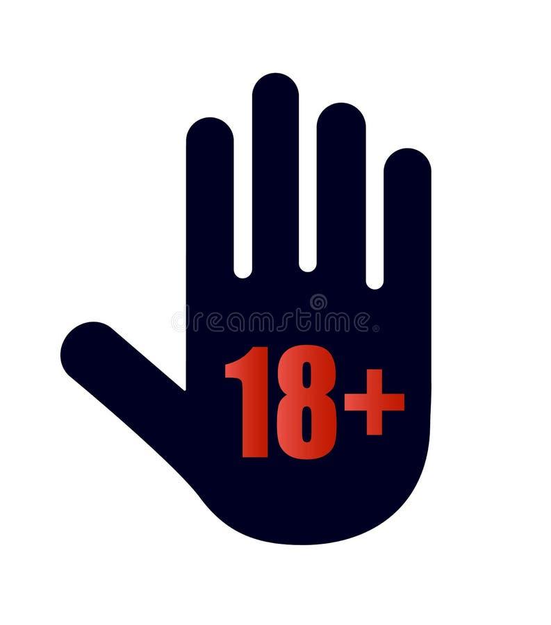 Pod 18 lat prohibitory znakiem dla dorosłych tylko Liczba osiemnaście na łodzi Symbole na białym tle royalty ilustracja