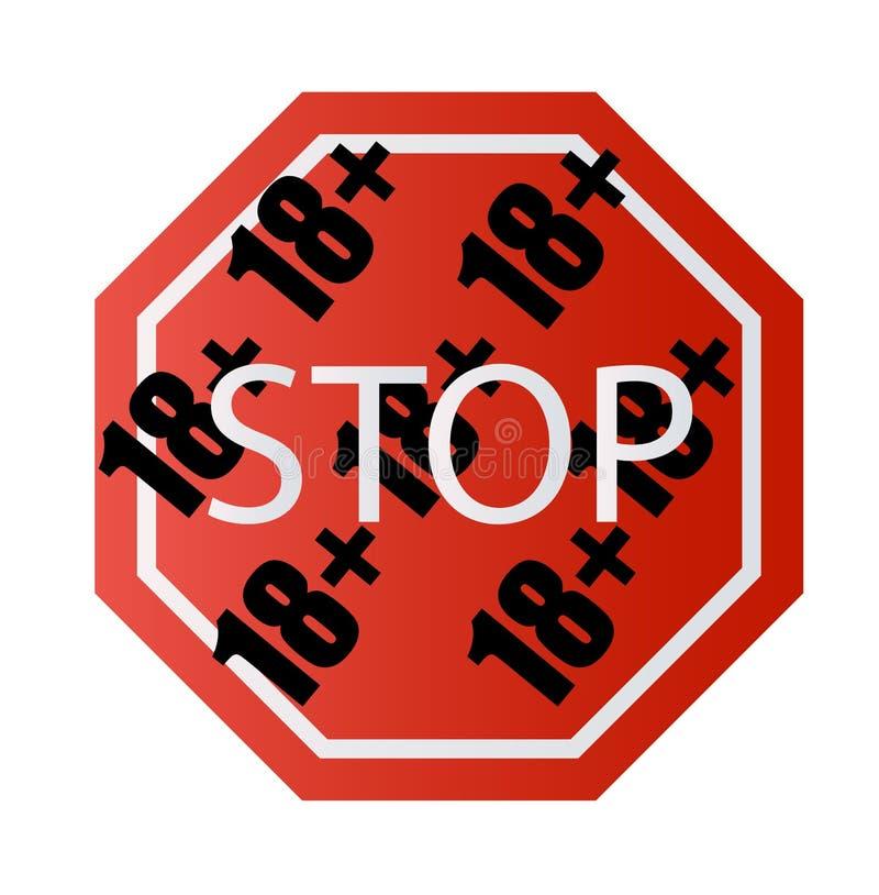 Pod 18 lat przerwy prohibitory znakiem dla dorosłych tylko Liczy osiemnaście na czerwieni royalty ilustracja