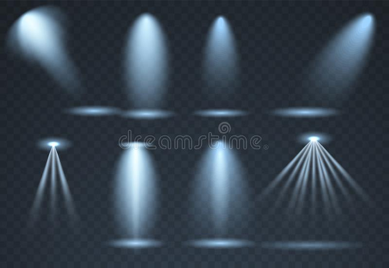 Large set of Blue scene illumination, transparent effects. Bright lighting with spotlights collection. vector illustration
