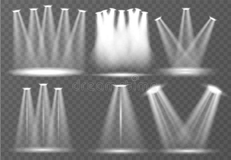 Large set of scene illumination, transparent effects. Bright lighting with spotlights collection. royalty free illustration