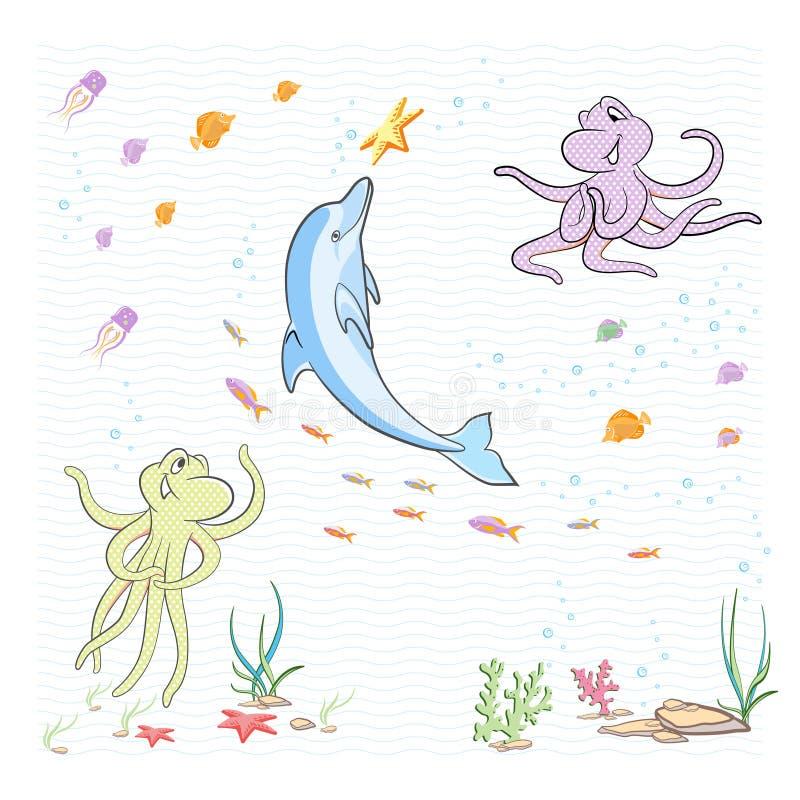 Pod morzem ilustracja wektor