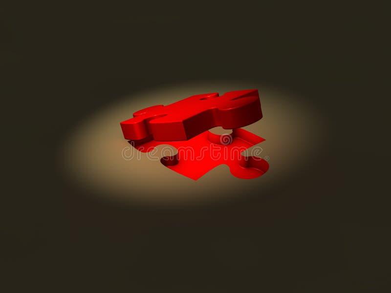 Pod punktu światłem łamigłówka czerwony kawałek ilustracji