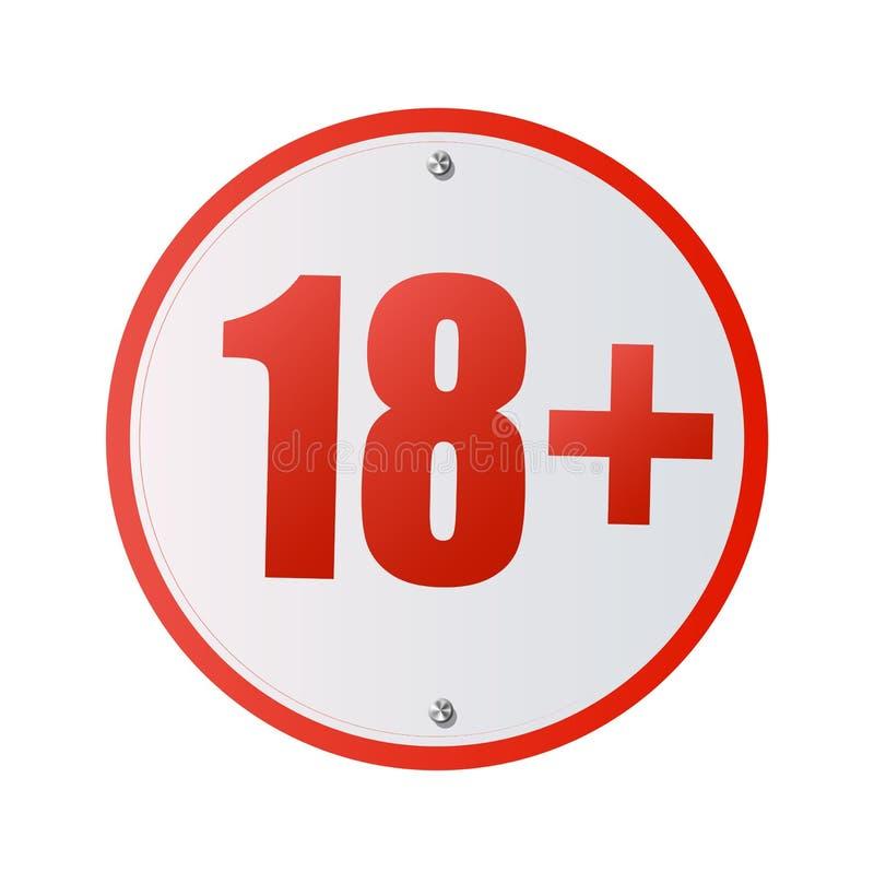Pod 18 rok prohibicja znaka Dorosli tylko Liczba osiemnaście w czerwień krzyżującym okręgu ilustracja odizolowywający symboli/lów ilustracji