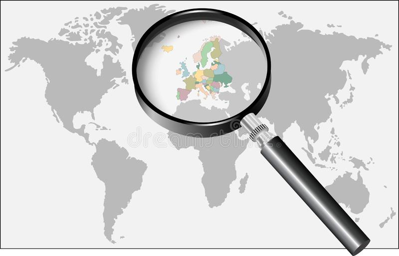 pod s?owem Europe magnifier royalty ilustracja