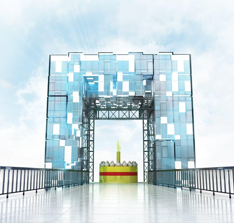 Pod uroczystym wejściowym brama budynkiem ilustracja wektor