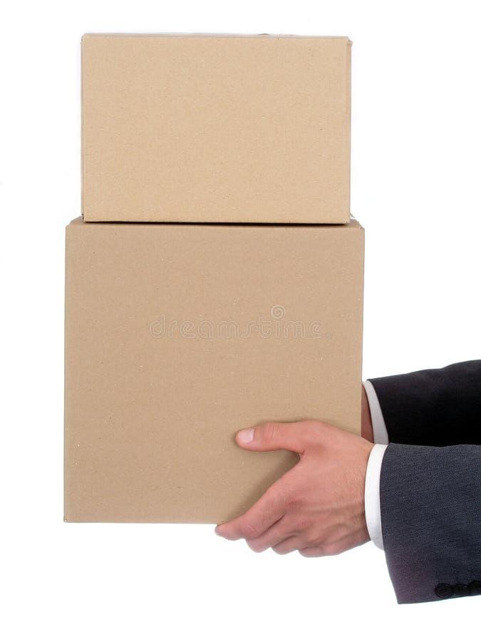 podaj gospodarstwa biznesmen s opakowań zdjęcia stock