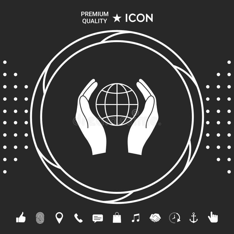 podaj gospodarstwa ziemi Gacenie ikona Graficzni elementy dla twój designt ilustracja wektor