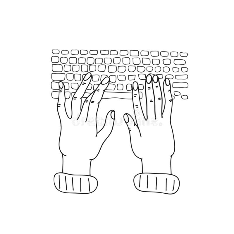 podaj klawiatur? Cyfrowanie, rozwój, hackathon, freelance pracownik Wektorowa konturowa kreskowa ilustracja dla sztandaru, plakat ilustracja wektor