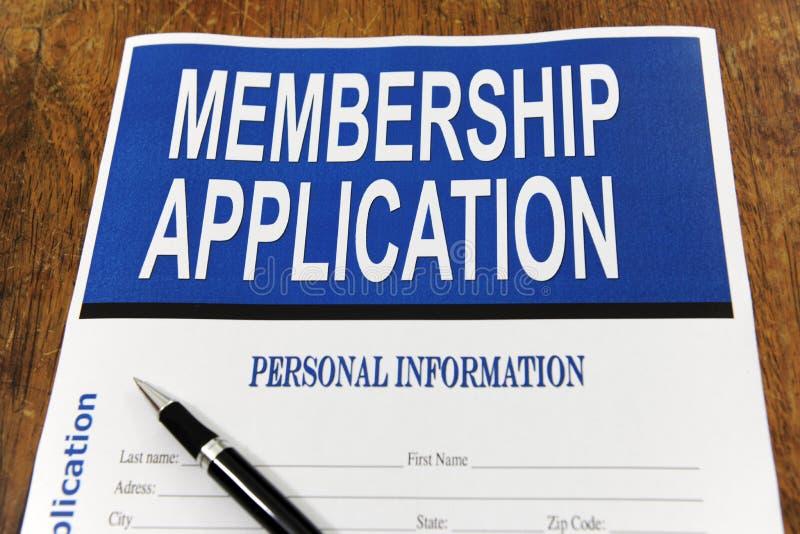 podaniowy biurka formy członkostwo zdjęcie stock