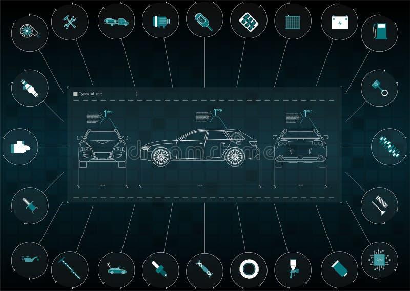 Podaniowy interfejs dla utrzymania automobilowe części i naprawy Samochodu przodu, tylnych i bocznych widoki, Infographics frei ilustracja wektor