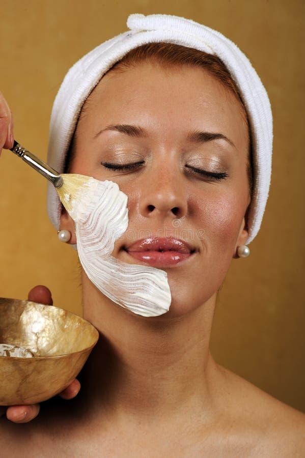 podaniowy piękna facial maski zdrój obrazy royalty free