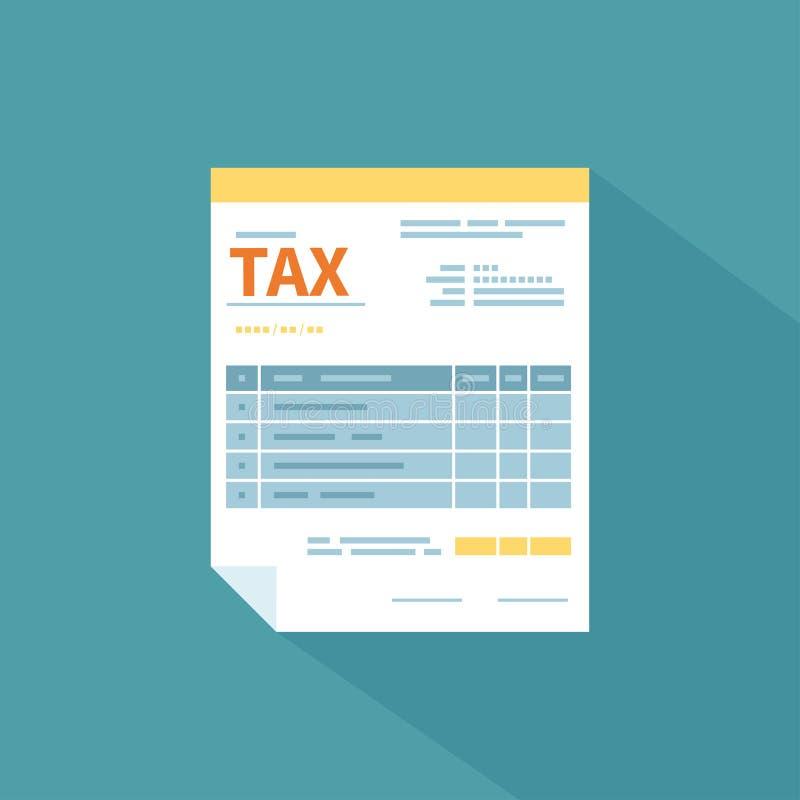 Podatek formy ikona z długim cieniem Niezapełniony minimalistic papierowy dokument Rząd, stanów podatki Zapłata podatek, konta, r ilustracja wektor