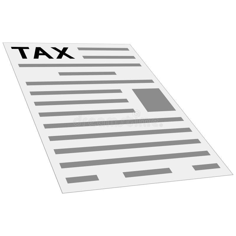 Podatek formy płatnicza ikona, pojęcie, układ, szablon, pierwszy strona zwrot podatku, isometric perspektywa, mieszkania stylowy  royalty ilustracja