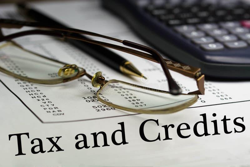 Podatek i kredyty obraz stock