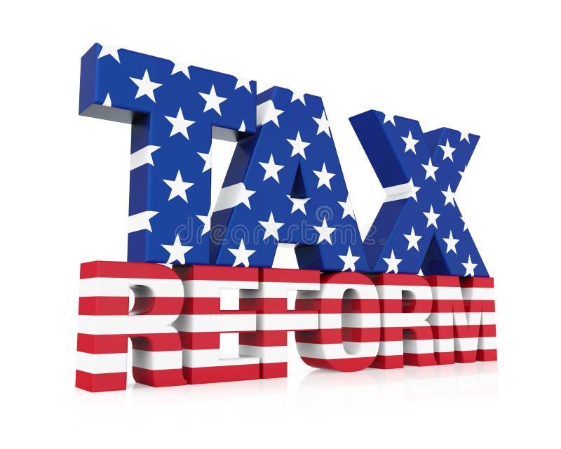 Podatek reforma z Stany Zjednoczone flaga Odizolowywającą ilustracja wektor