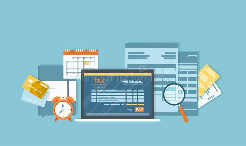 Podatek zapłata przez laptopu Mobilna zapłaty usługa Rząd, stanów podatki Podatek forma, pieniężny kalendarz, powiększa - szkło,  ilustracja wektor