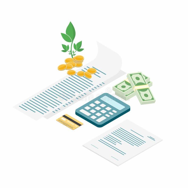 Podatek zapłata Rachunki z kalkulatorem, kredytową kartą, gotówką i monetami, ilustracji