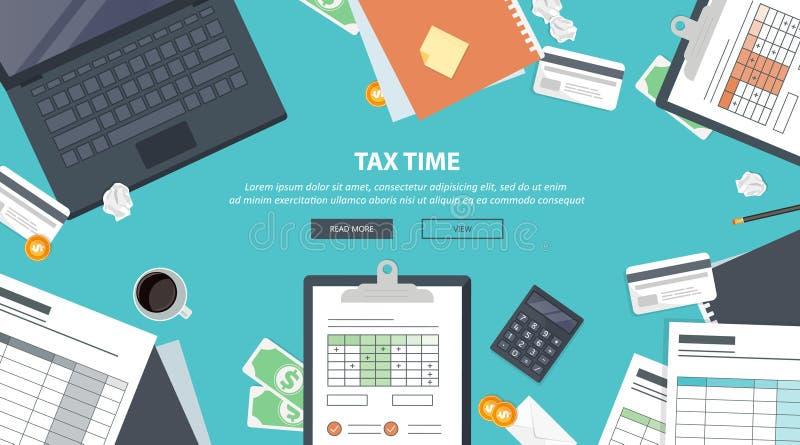 Podatek zapłata Rząd, stanów podatki Dane analiza, papierkowa robota, pieniężny badanie, raport Biznesmena obliczenia zwrot podat ilustracja wektor